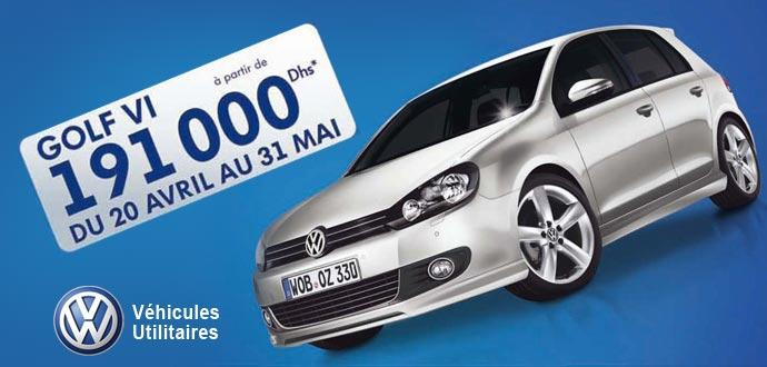 promotion les prix salon sont arrivs volkswagen golf vi partir de 191 000 dh voitures maroc. Black Bedroom Furniture Sets. Home Design Ideas